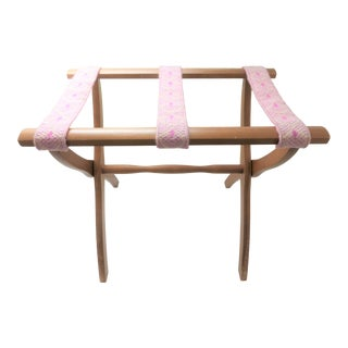 Vintage Scheibe Folding Wood Luggage Rack Pink Tapestry Straps For Sale
