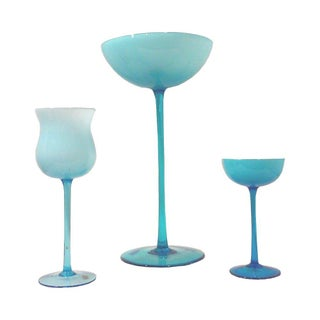 Carlo Moretti Blue Cased Glass Tall Compote Vases - Set of 3