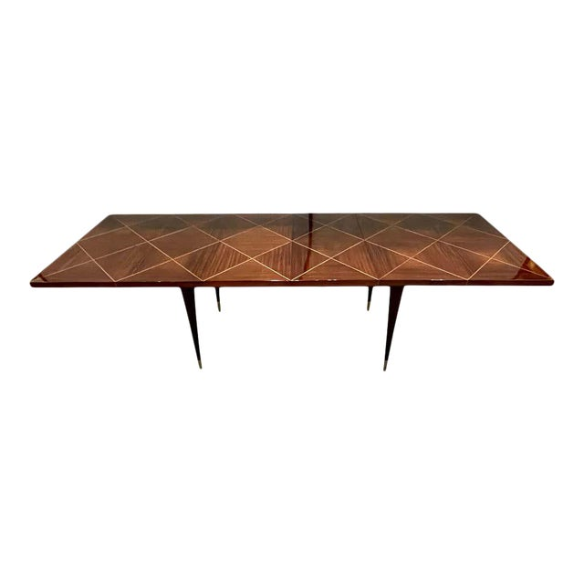 A Tommi Parzinger Originals Dining Table Fully Refinished With Two Leaves For Sale