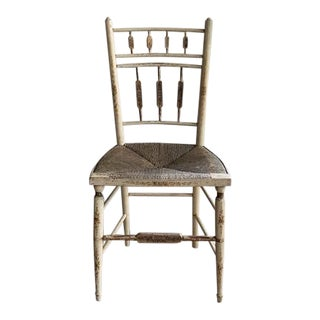 Late 19th Century Antique Painted Rush Seat Chair For Sale