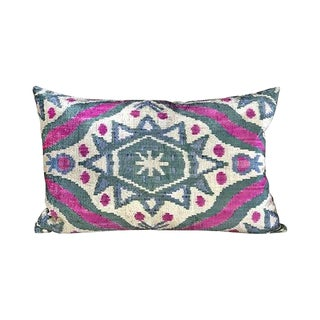 Kim Salmela Turkish Silk Velvet Ikat Lumbar Pillow For Sale