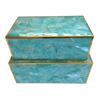 Made Goods Contemporary Turquoise Shell Erin Boxes - a Pair For Sale