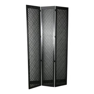 Black Wooden 3 Panel Room Divider For Sale