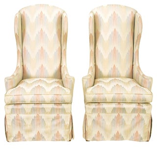 Pair of Petite Skirted Wing Chairs For Sale