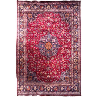 1940s Vintage Hand-Tied Persian Mashad Rug- 9′8″ × 12′4″ For Sale