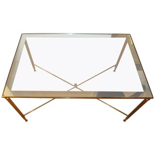 Brass and Glass Directoire Style Coffee or Cocktail Table For Sale