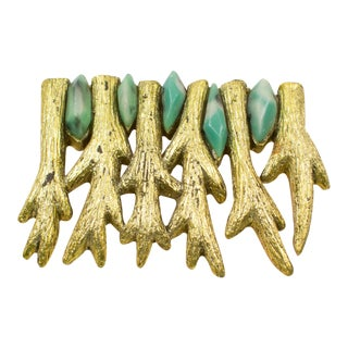 Mary Oros Gilt Resin Pin Brooch With Turquoise Cabochon For Sale