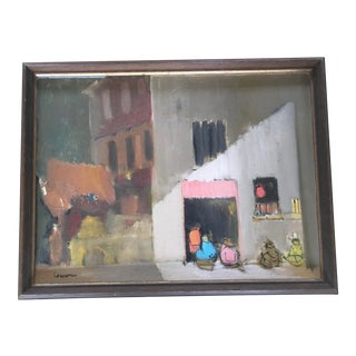 Street Scene Oil Painting by Carmel Artist Gene Elmore. Signed For Sale