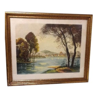 "Antique French ""Loire River"" Etching Print Signed by Francis Roth For Sale"