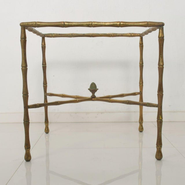 For your consideration: Elegant side table in faux bamboo by Arturo Pani. From Mexico circa 1950s. Designer Arturo Pani....