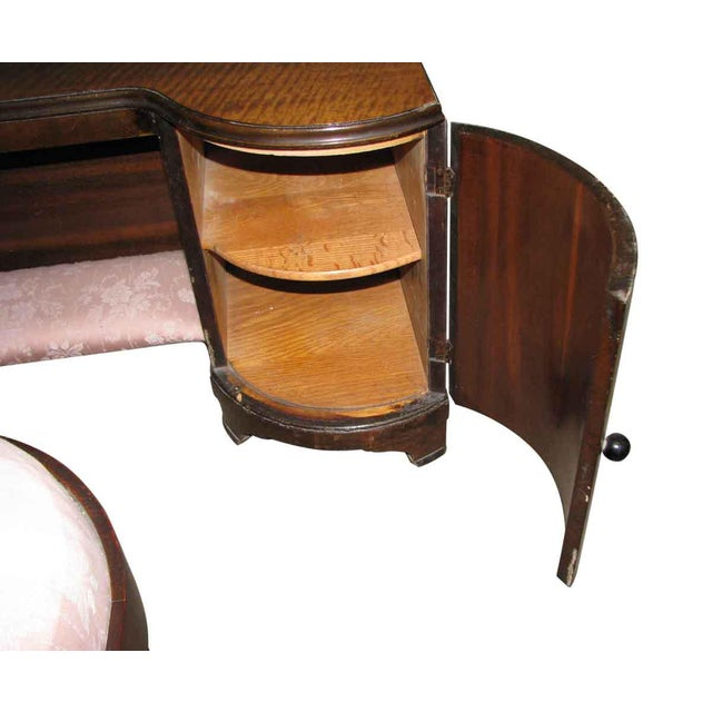 1950s Deco Vanity & Pink Stool - a Pair For Sale - Image 4 of 10