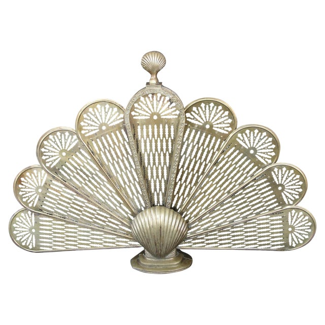 Brass Sea Shell Folding Fireplace Screen - Image 1 of 8
