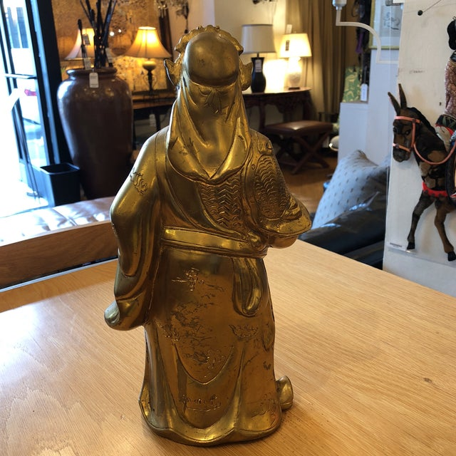 Brass Chinese God of Wealth Sculpture For Sale - Image 4 of 9
