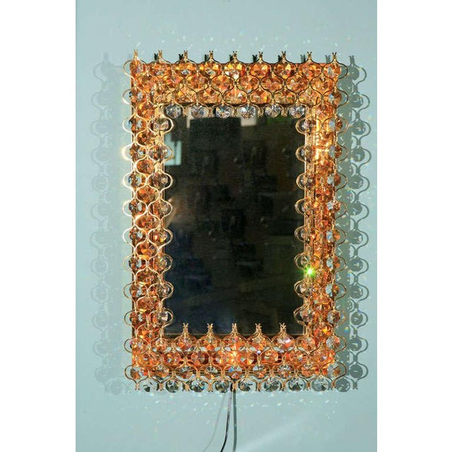 Hollywood Regency Lobmeyr Crystal & Gold Backlit Mirror For Sale - Image 3 of 9