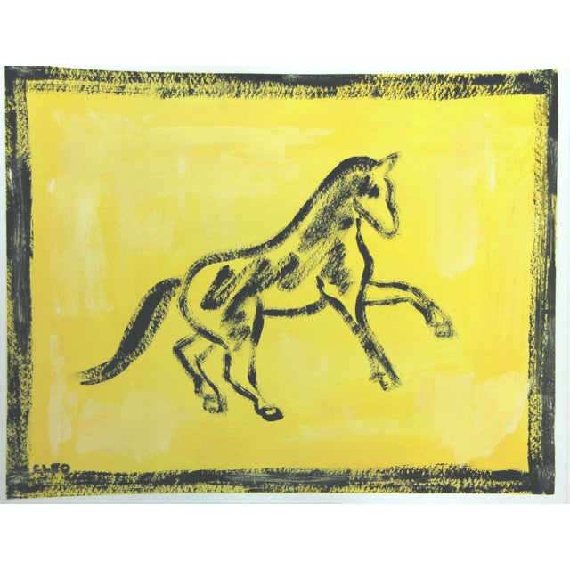 An abstract minimalist horse painting in black on a mottled yellow background. The coordinating paintings as shown on this...