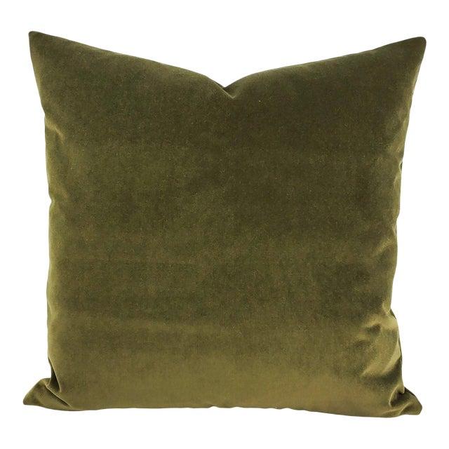 """Kravet Delta Velvet in Loden Green Pillow Cover - 20"""" X 20"""" Solid Moss Green Velvet Cushion Case For Sale"""