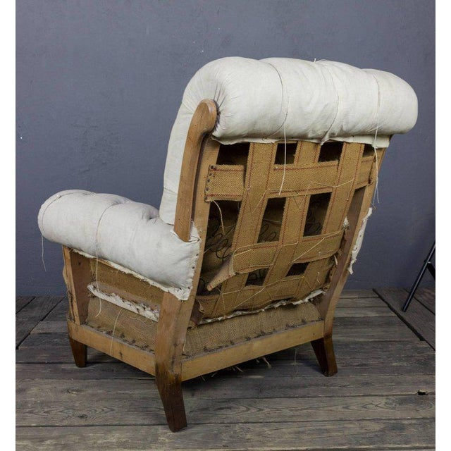 Large Tufted Armchair & Ottoman For Sale - Image 4 of 9
