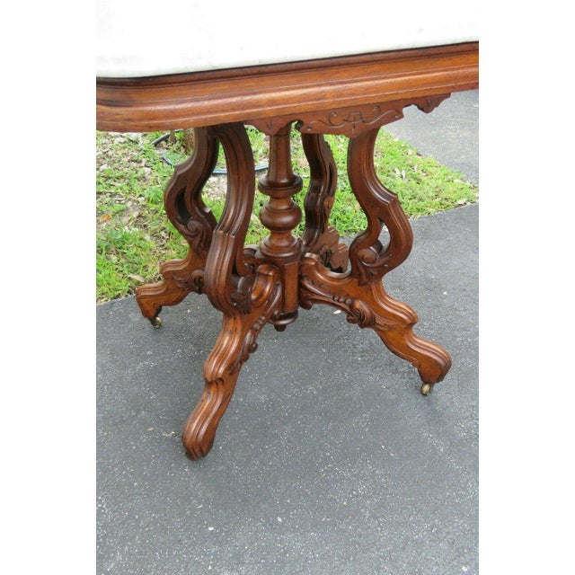 Victorian Eastlake Carved Marble Top Large Side End Center Table For Sale - Image 9 of 11