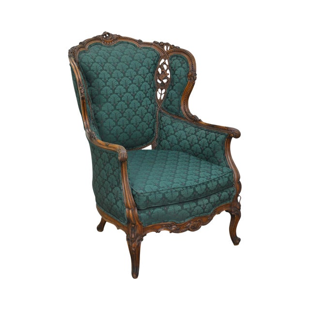 Antique Carved Rococo Style Wing Chair - Image 1 of 10