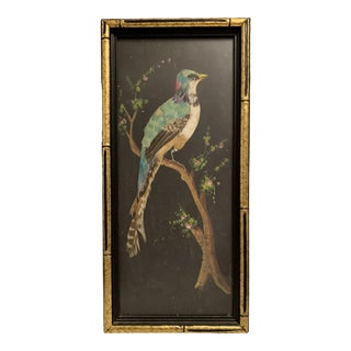 1918 Painting With Real Feathers of the Bird For Sale