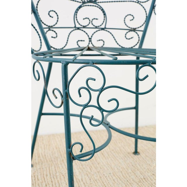 Metal Pair of Salterini Style Iron Garden Patio Chairs For Sale - Image 7 of 13