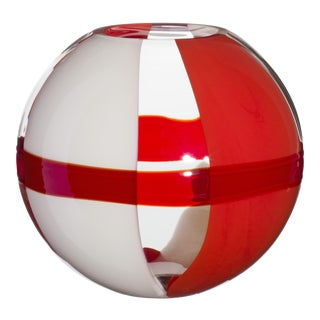 Small Sfera Vase in Orange, Red and Ivory by Carlo Moretti For Sale