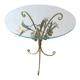 Mid-Century Modern Italian Floral Tole Side Table For Sale
