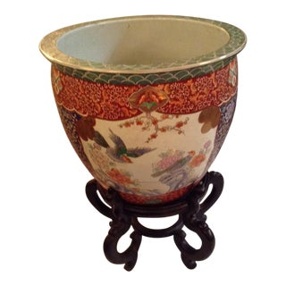 1980s Chinoiserie Planter With Koi Fish Interior Motif For Sale