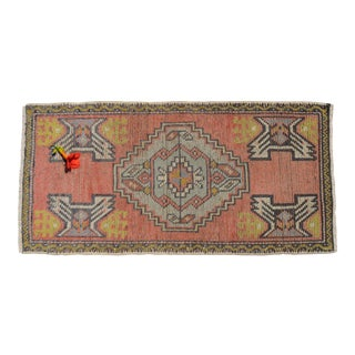 Hand Made Turkish Small Rug Distressed Low Pile Mat Bath Rug Kitchen Decor - 20'' X 39'' For Sale