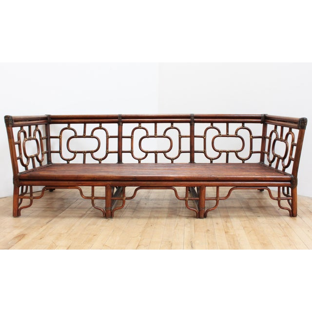 Chinese Chippendale Bamboo and Leather Sofa For Sale - Image 10 of 10