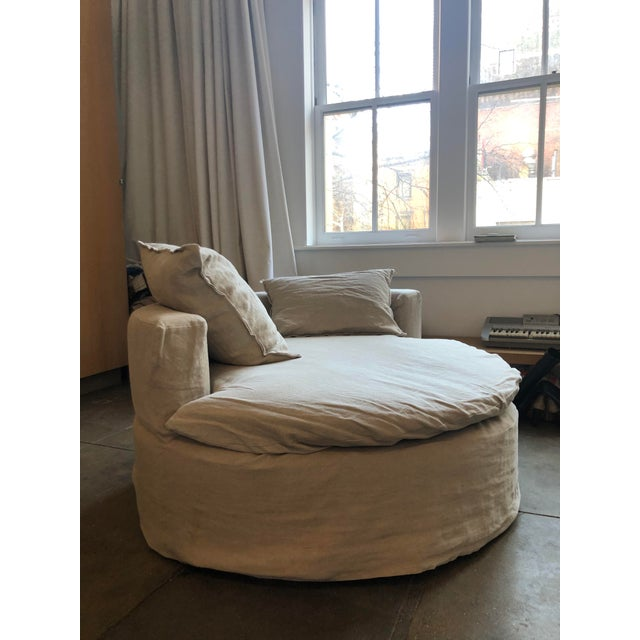 Modern Custom Made Round Love Seat For Sale - Image 3 of 8