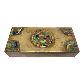 Brass Art Deco Lidded Box With Enameled Decoration For Sale