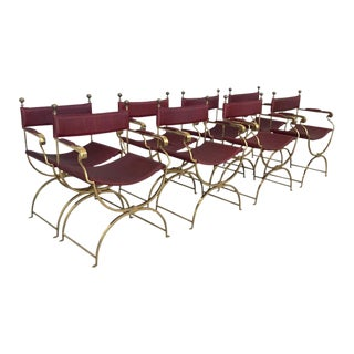1960s Italian Hollywood Regency Chrome and Leather Savonarola Director's Chairs - Set of 8 For Sale
