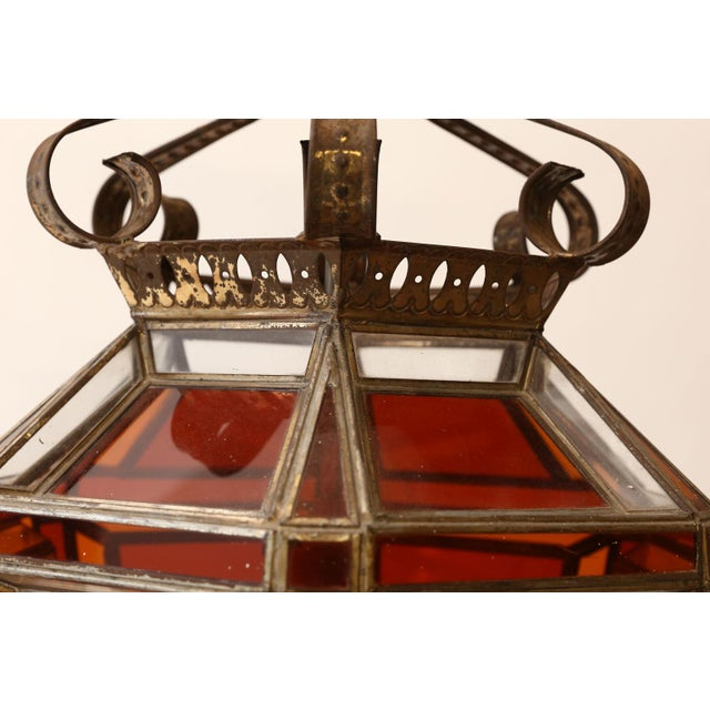 Islamic Andalusian Amber Glass Lantern For Sale - Image 3 of 7