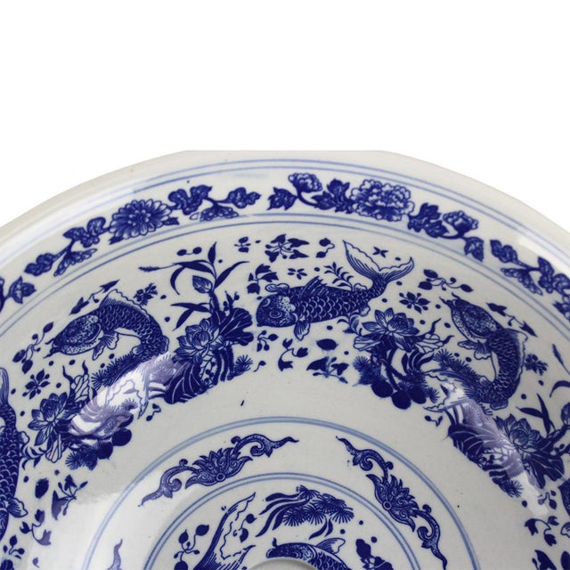 Pasargad DC Modern White and Blue Motif Sink Bowl For Sale - Image 4 of 8