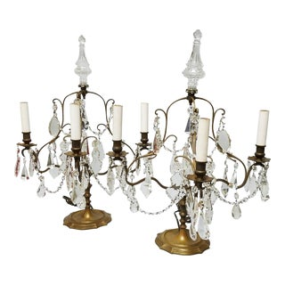 French Cut Crystal and Brass Girandoles - A Pair For Sale