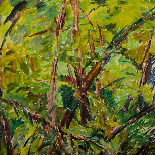 """Green Mid 20th Century """"Allee"""" Expressionist Style Forest Landscape Oil Painting by Elisabeth Merlicek, Framed For Sale - Image 8 of 13"""