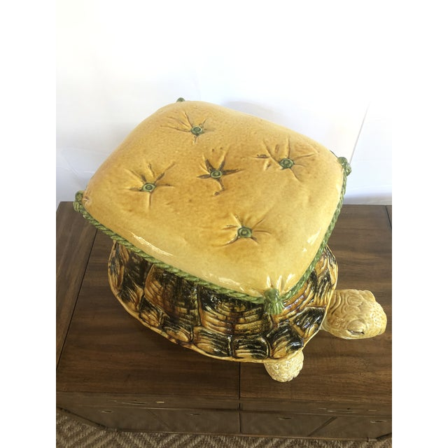 Fun 1960s Italian turtle garden stool. Life size large sea turtle with tufted pillow top with rope trim & tassels. Made...