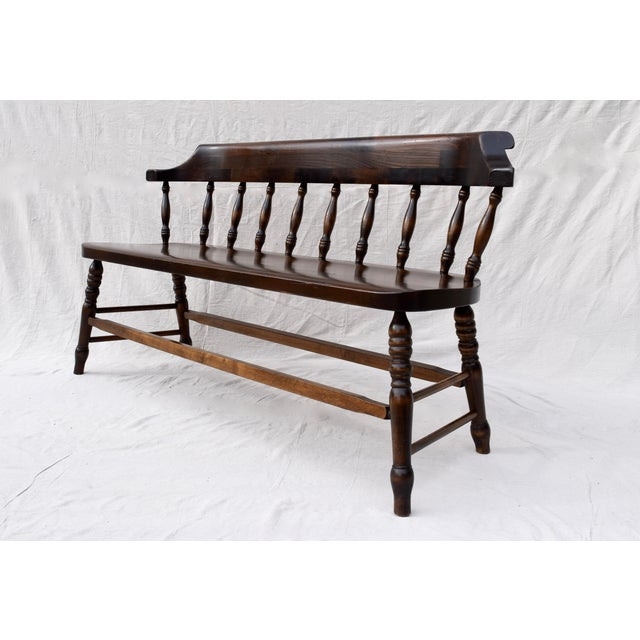Wood Farmhouse Pine Spindle Back Bench For Sale - Image 7 of 11