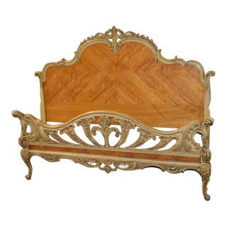 1950s French Provincial Carved Satinwood Headboard & Footboard