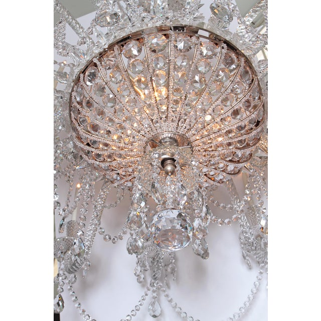 Silver A Pair of Large Scale Majestic 24-Light Cut-Crystal Chandeliers For Sale - Image 8 of 12