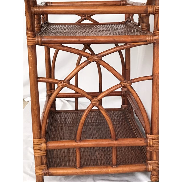 Mid 20th Century Vintage Rattan Bamboo Bar Cart For Sale - Image 5 of 10