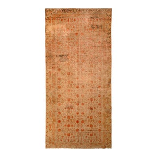 Hand-Knotted Antique Khotan Rug Beige Brown With Red Pomegranate Pattern For Sale