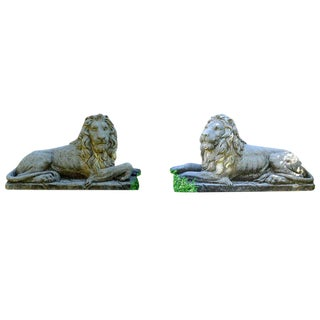 Reclining Hand Carved Italian Limestone Lions