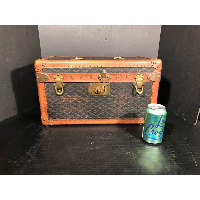 Animal Skin Goyard Jewelry or Valuables Trunk Train Case For Sale - Image 7 of 13