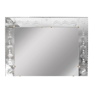 1940s Venetian Mirror with Reverse Etched and Chain Beveled Detailing For Sale