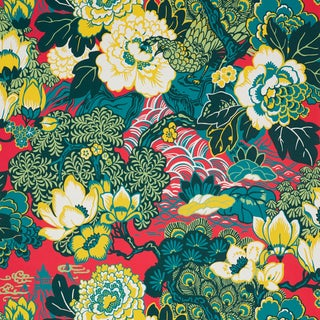Schumacher Shanghai Peacock Wallpaper in Cerise For Sale