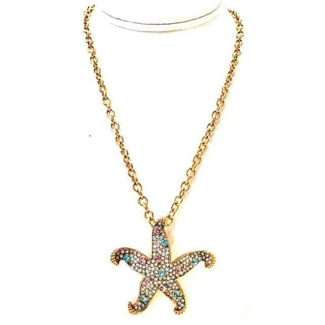 21st Century K. Lane Gold & Swarovski Crystal Starfish Pendant Necklace For Sale - Image 10 of 10