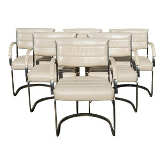 1980s Vintage Milo Baughman Style Cantilever Dining Chairs - Set of 6 For Sale