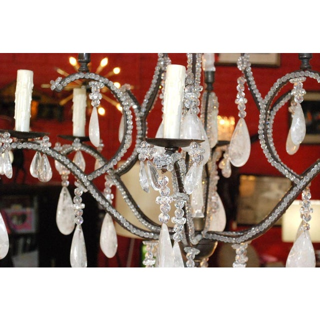 Large Six-Light Rock Crystal Chandelier For Sale In Los Angeles - Image 6 of 10